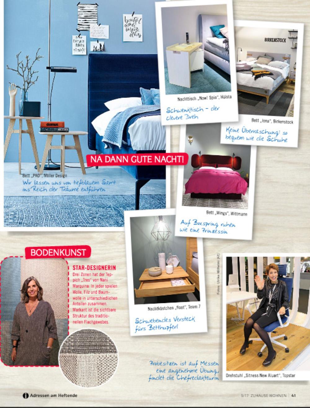 zuhause wohnen 05 2017 m ller design. Black Bedroom Furniture Sets. Home Design Ideas